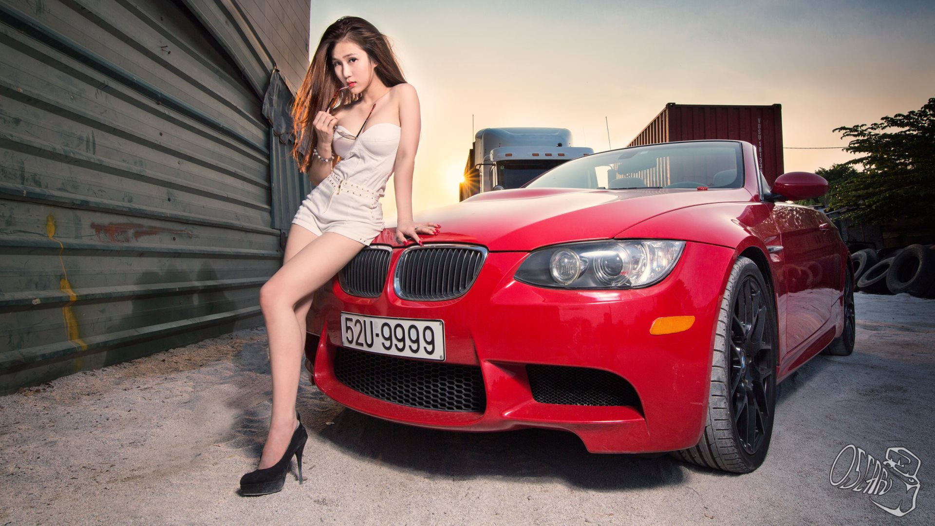 car and girl and sex boobs